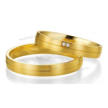 Βέρες χρυσές με πέτρα Brilliand στη γυναικεία 3,50mm