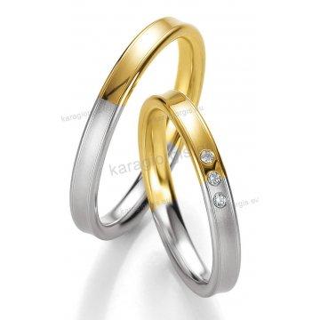 Βέρες δίχρωμες λευκόχρυσο με χρυσό με πέτρα Brilliand στη γυναικεία 3,00mm