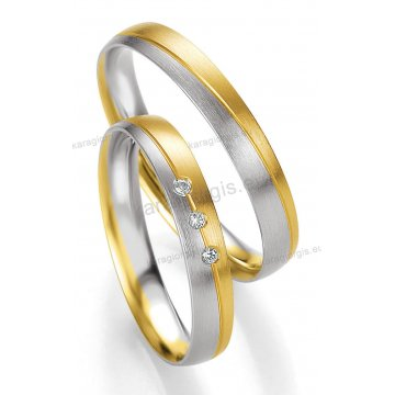 Βέρες δίχρωμες λευκόχρυσο με χρυσό με πέτρα Brilliand στη γυναικεία 3,50mm
