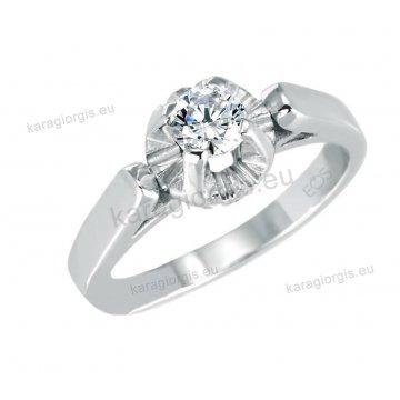 Μονόπετρο δαχτυλίδι Brilliand σε λευκόχρυσο 18Κ σε κλασικό δέσιμο 0,10ct σε VS ποιότητα και G χρωματισμό