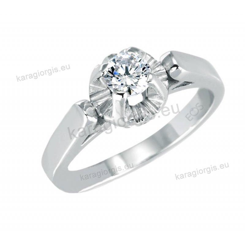 EOS01 Μονόπετρο δαχτυλίδι Brilliand σε λευκόχρυσο 18Κ σε κλασικό ... b1e825509a4