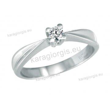 Μονόπετρο δαχτυλίδι Brilliand σε λευκόχρυσο 18Κ σε αμερικάνικο τύπο 0,15ct σε VS ποιότητα και G χρωματισμό