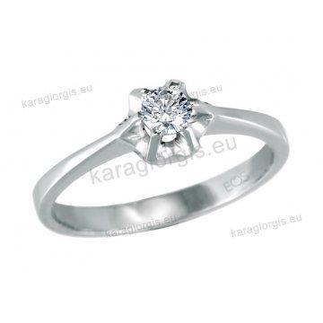 Μονόπετρο δαχτυλίδι Brilliand σε λευκόχρυσο 18Κ σε κλασικό δέσιμο 0,20ct σε VS ποιότητα και G χρωματισμό