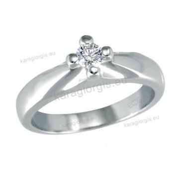 Μονόπετρο δαχτυλίδι Brilliand σε λευκόχρυσο 18Κ σε απλό δέσιμο σε σχήμα σταυρού 0,20ct σε VS ποιότητα και G χρωματισμό