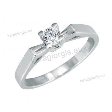 Μονόπετρο δαχτυλίδι Brilliand σε λευκόχρυσο 18Κ σε τετράγωνο κλασικό δέσιμο τεσσάρων σημείων 0,25ct σε VS ποιότητα και G χρωματισμό