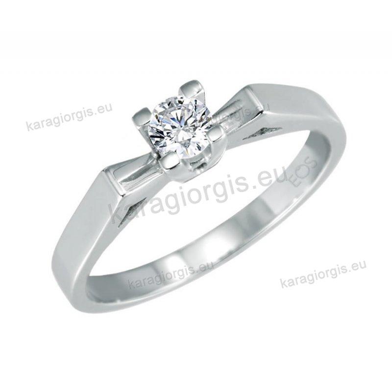 Μονόπετρο δαχτυλίδι Brilliand σε λευκόχρυσο 18Κ σε τετράγωνο κλασικό δέσιμο  τεσσάρων σημείων 0 e24aad1678c