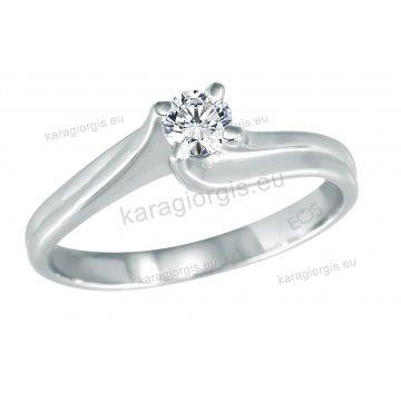 Μονόπετρο δαχτυλίδι Brilliand σε λευκόχρυσο 18Κ σε δέσιμο τύπου φλόγας 0,25ct σε VS ποιότητα και G χρωματισμό