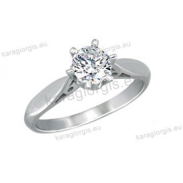 Μονόπετρο δαχτυλίδι Brilliand σε λευκόχρυσο 18Κ σε αμερικάνικο τύπο έξι σημείων 0,23ct σε VS ποιότητα και G χρωματισμό