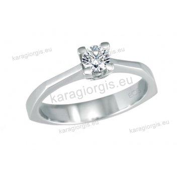 Μονόπετρο δαχτυλίδι Brilliand σε λευκόχρυσο 18Κ με γωνίες σε τετράγωνο κλασικό δέσιμο τεσσάρων σημείων 0,30ct σε VS ποιότητα και G χρωματισμό