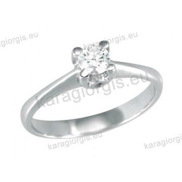 Μονόπετρο δαχτυλίδι Brilliand σε λευκόχρυσο 18Κ σε τετράγωνο κλασικό δέσιμο τεσσάρων σημείων 0,30ct σε VS ποιότητα και G χρωματισμό