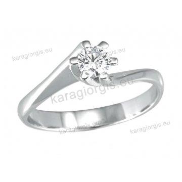 Μονόπετρο δαχτυλίδι Brilliand σε λευκόχρυσο 18Κ σε δέσιμο έξι σημείων τύπου φλόγας 0,30ct σε VS ποιότητα και G χρωματισμό