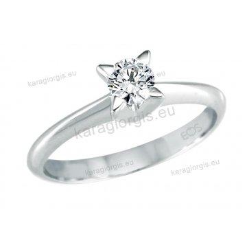 Μονόπετρο δαχτυλίδι Brilliand σε λευκόχρυσο 18Κ σε δέσιμο τεσσάρων σημείων σε σχήμα αστεριού 0,35ct σε VS ποιότητα και G χρωματισμό