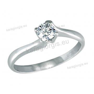 Μονόπετρο δαχτυλίδι Brilliand σε λευκόχρυσο 18Κ σε κλασικό δέσιμο τεσσάρων σημείων τύπου φλόγας 0,35ct σε VS ποιότητα και G χρωματισμό