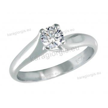 Μονόπετρο δαχτυλίδι Brilliand σε λευκόχρυσο 18Κ σε κλασικό δέσιμο τεσσάρων σημείων τύπου φλόγας 0,40ct σε VS ποιότητα και G χρωματισμό