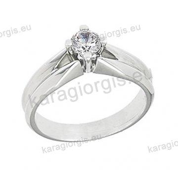 Μονόπετρο δαχτυλίδι Brilliand σε λευκόχρυσο 18Κ σε κλασικό δέσιμο τεσσάρων σημείων 0,35ct σε VS ποιότητα και G χρωματισμό