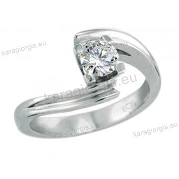 Μονόπετρο δαχτυλίδι Brilliand σε λευκόχρυσο 18Κ σε τετράγωνο δέσιμο τεσσάρων σημείων τύπου φλόγας 0,30ct σε VS ποιότητα και G χρωματισμό