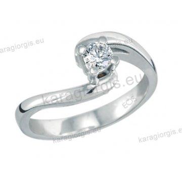 Μονόπετρο δαχτυλίδι Brilliand σε λευκόχρυσο 18Κ σε τετράγωνο δέσιμο τεσσάρων σημείων τύπου φλόγας 0,25ct σε VS ποιότητα και G χρωματισμό
