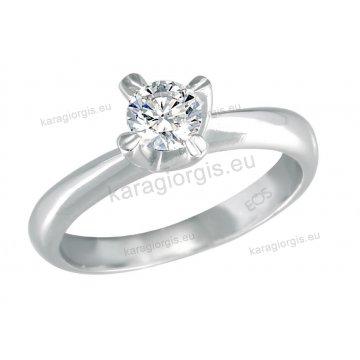 Μονόπετρο δαχτυλίδι Brilliand σε λευκόχρυσο 18Κ σε απλό δέσιμο σε σχήμα σταυρού 0,45ct σε VS ποιότητα και G χρωματισμό