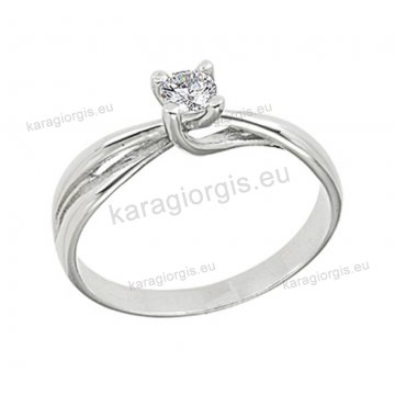Μονόπετρο δαχτυλίδι Brilliand χιαστό σε λευκόχρυσο 18Κ σε τετράγωνο δέσιμο τεσσάρων σημείων 0,20ct σε VS ποιότητα και G χρωματισμό