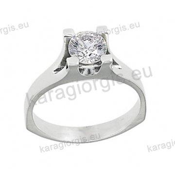 Μονόπετρο δαχτυλίδι Brilliand σε λευκόχρυσο 18Κ σε τετράγωνο δέσιμο τεσσάρων σημείων 0,14ct σε VS ποιότητα και G χρωματισμό