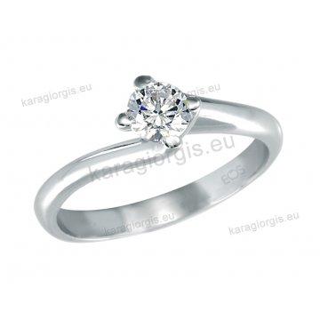 Μονόπετρο δαχτυλίδι Brilliand σε λευκόχρυσο 18Κ σε δέσιμο τεσσάρων σημείων τύπου φλόγας 0,45ct σε VS ποιότητα και G χρωματισμό