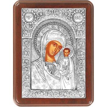 Ασημένια χειροποίητη εικόνα Παναγία Καζάνσκα Ρώσικη με ασήμι 999ο και ξύλινη κορνίζα 19*25cm
