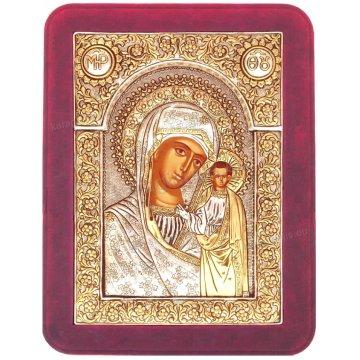 Ασημόχρυση χειροποίητη εικόνα Παναγία Καζάνσκα Ρώσικη με ασήμι 999ο χρυσό Κ24 και κόκκινη βελούδινη κορνίζα 19*25cm