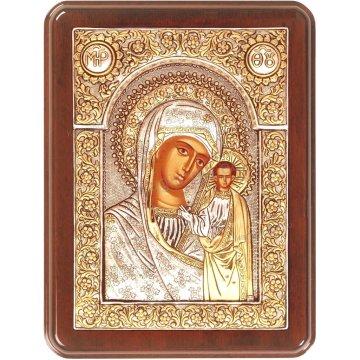 Ασημόχρυση χειροποίητη εικόνα Παναγία Καζάνσκα Ρώσικη με ασήμι 999ο χρυσό Κ24 και ξύλινη κορνίζα 19*25cm