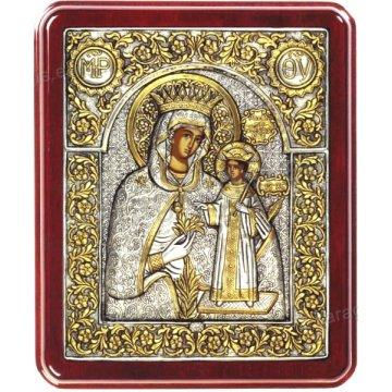 Ασημόχρυση χειροποίητη εικόνα Παναγία ρόδο Αμάραντο με ασήμι 999ο χρυσό Κ24 και ξύλινη κορνίζα 24*29cm