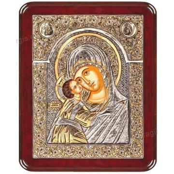 Ασημόχρυση πετράτη χειροποίητη εικόνα Παναγία Γλυκοφιλούσα με ασήμι 999ο χρυσό Κ24 και ξύλινη κορνίζα με κρυστάλλους Swarovski 24*29cm