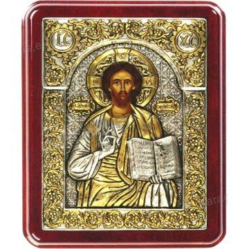 Ασημόχρυση χειροποίητη εικόνα Χριστός Ζωοδότης με ασήμι 999ο χρυσό Κ24 και ξύλινη κορνίζα 24*29cm