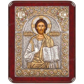 Ασημόχρυση πετράτη χειροποίητη εικόνα Χριστός Ζωοδότης με ασήμι 999ο χρυσό Κ24 και ξύλινη κορνίζα με κρυστάλλους Swarovski 24*29cm