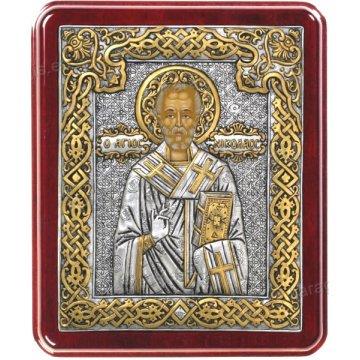 Ασημόχρυση χειροποίητη εικόνα Άγιος Νικόλαος με ασήμι 999ο χρυσό Κ24 και ξύλινη κορνίζα 24*29cm