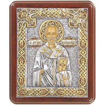 Ασημόχρυση πετράτη χειροποίητη εικόνα Άγιος Νικόλαος με ασήμι 999ο χρυσό Κ24 και ξύλινη κορνίζα με κρυστάλλους Swarovski 24*29cm