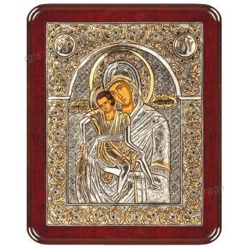 Ασημόχρυση πετράτη χειροποίητη εικόνα Άξιον Εστί με ασήμι 999ο χρυσό Κ24 και ξύλινη κορνίζα με κρυστάλλους Swarovski 24*29cm