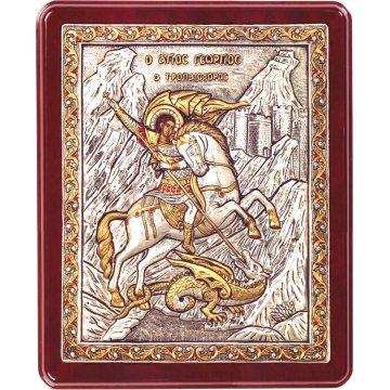 Ασημόχρυση πετράτη χειροποίητη εικόνα Άγιος Γεώργιος με ασήμι 999ο χρυσό Κ24 και ξύλινη κορνίζα με κρυστάλλους Swarovski 24*29cm