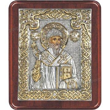 Ασημόχρυση πετράτη χειροποίητη εικόνα Άγιος Σπυρίδωνας με ασήμι 999ο χρυσό Κ24 και ξύλινη κορνίζα με κρυστάλλους Swarovski 24*29cm