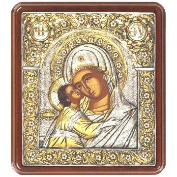 Ασημόχρυση πετράτη χειροποίητη εικόνα Παναγία Γλυκοφιλούσα με ασήμι 999ο χρυσό Κ24 και ξύλινη κορνίζα με κρυστάλλους Swarovski 35*31cm