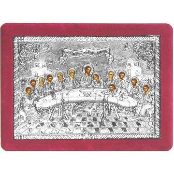 Ασημένια χειροποίητη εικόνα Μυστικός Δείπνος με ασήμι 999ο και κόκκινη βελούδινη κορνίζα 32*42cm