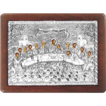 Ασημένια χειροποίητη εικόνα Μυστικός Δείπνος με ασήμι 999ο και ξύλινη κορνίζα 32*42cm