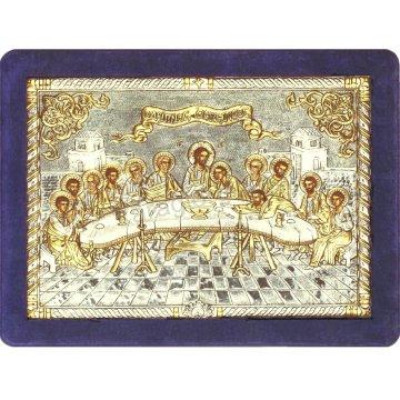 Ασημόχρυση χειροποίητη εικόνα Μυστικός Δείπνος με ασήμι 999ο χρυσό Κ24 και μπλε βελούδινη κορνίζα 32*42cm