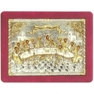 Ασημόχρυση χειροποίητη εικόνα Μυστικός Δείπνος με ασήμι 999ο χρυσό Κ24 και κόκκινη βελούδινη κορνίζα 32*42cm
