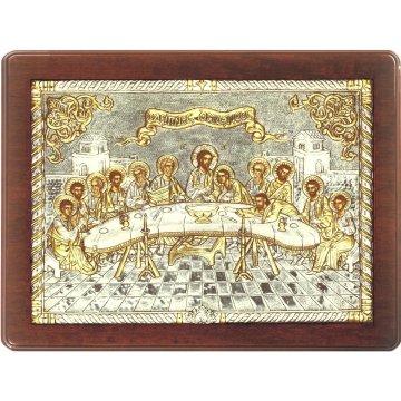 Ασημόχρυση χειροποίητη εικόνα Μυστικός Δείπνος με ασήμι 999ο χρυσό Κ24 και ξύλινη κορνίζα 32*42cm