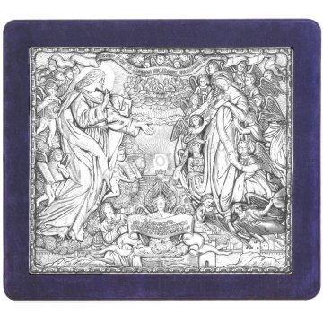 Ασημένια χειροποίητη εικόνα Νέα Ιερουσαλήμ με ασήμι 999ο και μπλε βελούδινη κορνίζα 43*48cm
