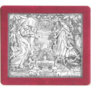 Ασημένια χειροποίητη εικόνα Νέα Ιερουσαλήμ με ασήμι 999ο και κόκκινη βελούδινη κορνίζα 43*48cm