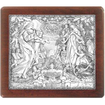Ασημένια χειροποίητη εικόνα Νέα Ιερουσαλήμ με ασήμι 999ο και ξύλινη κορνίζα 43*48cm
