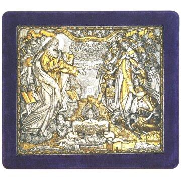 Ασημόχρυση χειροποίητη εικόνα Νέα Ιερουσαλήμ με ασήμι 999ο χρυσό Κ24 και μπλε βελούδινη κορνίζα 43*48cm
