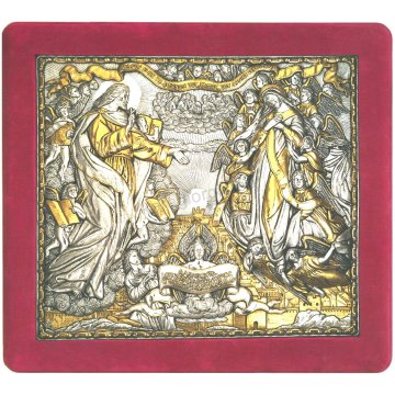 Ασημόχρυση χειροποίητη εικόνα Νέα Ιερουσαλήμ με ασήμι 999ο χρυσό Κ24 και κόκκινη βελούδινη κορνίζα 43*48cm