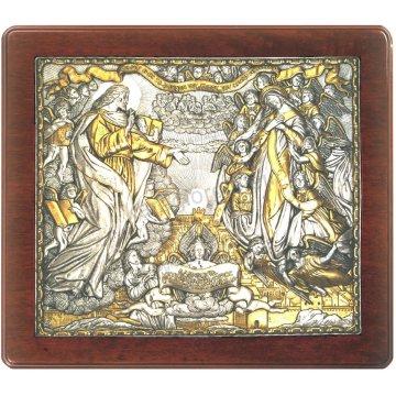 Ασημόχρυση χειροποίητη εικόνα Νέα Ιερουσαλήμ με ασήμι 999ο χρυσό Κ24 και ξύλινη κορνίζα 43*48cm
