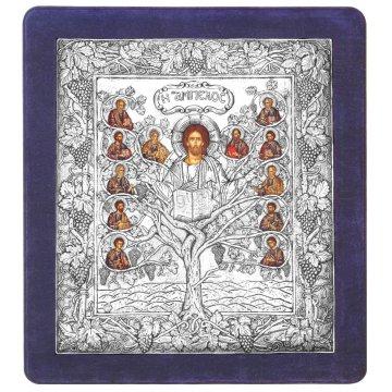 Ασημένια χειροποίητη εικόνα Άμπελος με ασήμι 999ο και μπλε βελούδινη κορνίζα 43*48cm